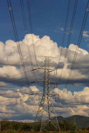 electric line: high voltage power electric line and transmission tower