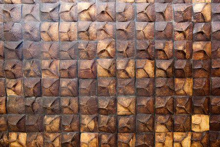 Coconut shell on wall thaistyle Stock Photo