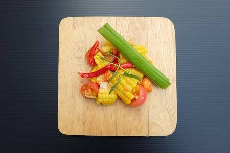 Thai style corn salad Sour and sweet taste Mixed spicy from fresh chili