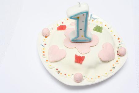 Baby cake. The first birthday Stock Photo
