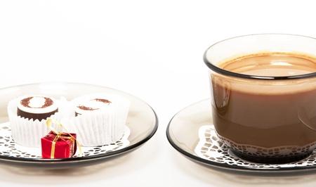 Coffee, gift and chocolates photo