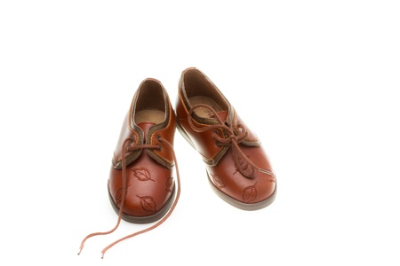 12 18 months: Baby shoes isolated on the white background Stock Photo