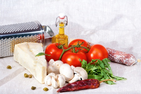 Fresh colorful pizza ingredients Stock Photo