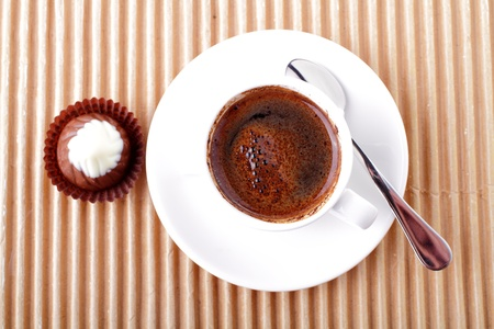 Cup of coffee with chocolate photo