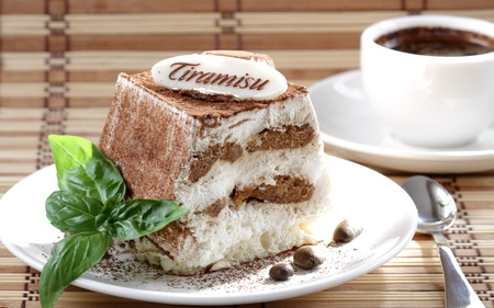 Tiramisu and coffee photo
