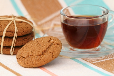 Homemade oat chip cookies and tea photo