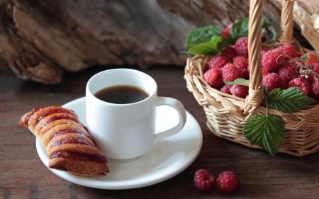 Strudel, coffee and raspberry photo