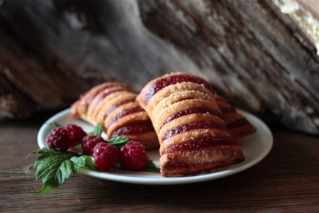 Strudel with raspberry photo