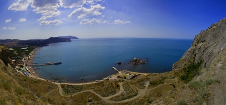 Sudak beach on Crimea  Black sea Stock Photo - 19169823