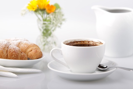 Breakfast with coffee and croissant Stock Photo - 19245251