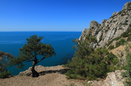 Landscape of mountains and sea in the Crimea photo