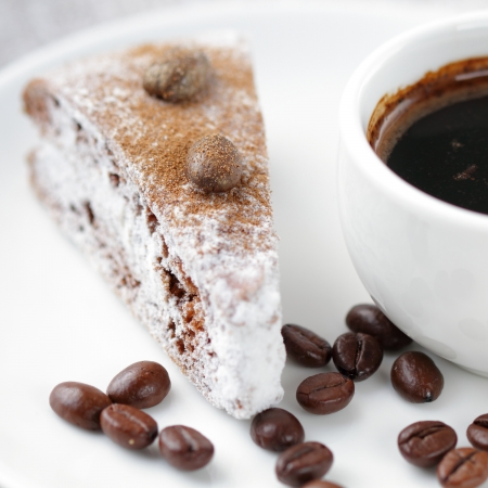 Cake and cup of coffee photo