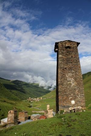 svaneti: Towers en Ushguli, alto Svaneti, Georgia