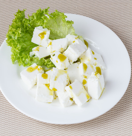 Healthy salad with cottage cheese photo