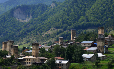 svaneti: Village in Upper Svaneti, Georgia