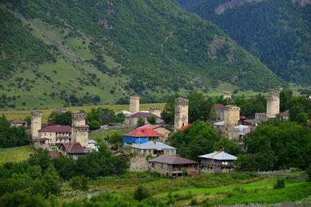 svaneti: Torres en Ushguli, Upper Svaneti, Georgia
