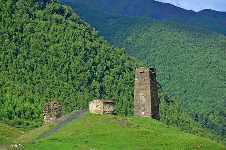 ushguli: Svanetian towers in Ushguli, Georgia Stock Photo