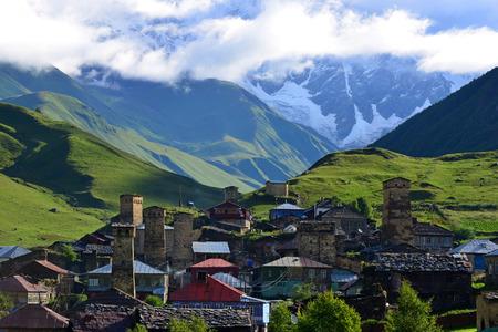 swanetia: Village in Ushguli, Upper Svaneti, Georgia Stock Photo