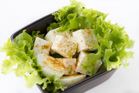Healthy salad with tofu photo