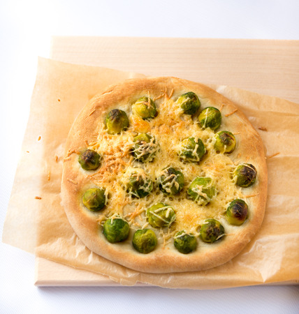 Brussels sprout and cheese pie