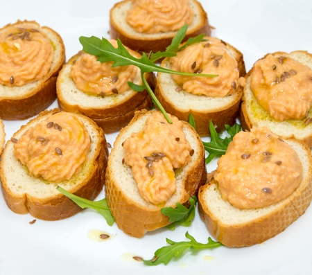 Canapes with hummus photo