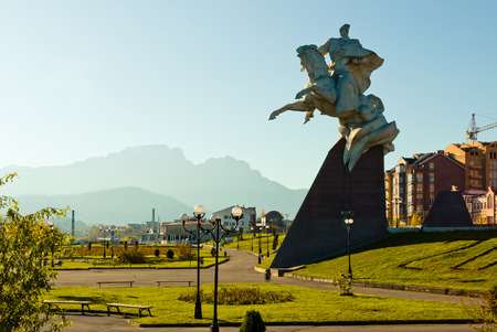 Equestrian statue of the general Pliyev. Vladikavkaz, North Ossetia Stock Photo