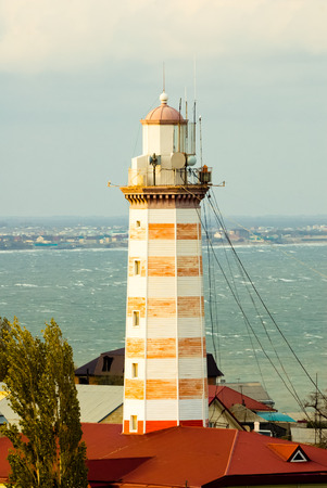 dagestan: Makhachkala, Dagestan. View of a beacon and sea Stock Photo