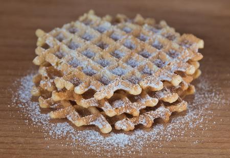 Golden Waffle Stock Photo