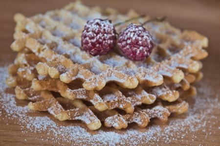 Waffles with raspberry
