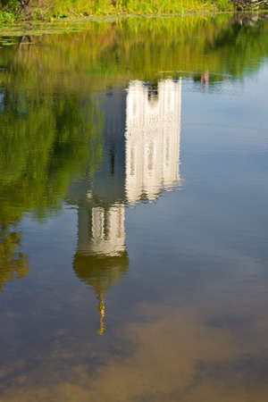 nerl: Church of the Intercession on the Nerl near the village Bogolyubovo, Russia. Reflection in the pond Stock Photo