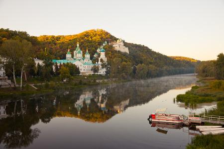 virgil: Church on the chalk rock in Svyatogorsk, Donetsk Region, Ukraine Stock Photo