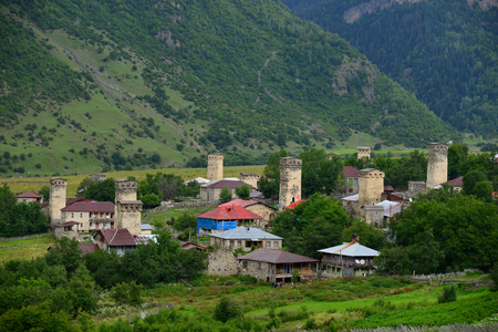 Mestia � the settlement of city type in the Upper Svaneti Stock Photo