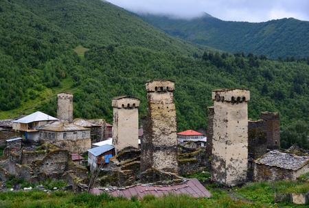 mestia: Mestia � the settlement of city type in the Upper Svaneti Stock Photo