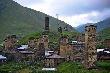 Towers in Ushguli, Upper Svaneti, Georgia. UNESCO World Heritage Sites.