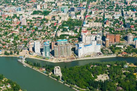 kuban: Top view of the city Krasnodar and Kuban river, Russia