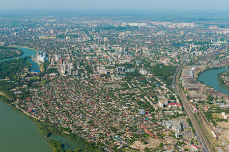 river view: Top view of the city Krasnodar and Kuban river, Russia