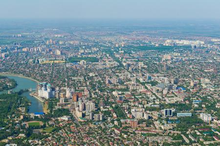 embankment: Top view of the city Krasnodar, Russia Stock Photo