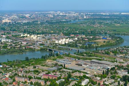 krasnodar: Top view of the city Krasnodar and Kuban river, Russia