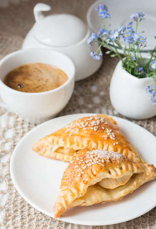samosa: Samosa with apples and cup of coffee