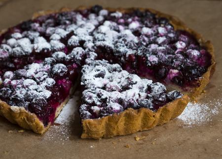 summer pudding: Slice of blackcurrant tart Stock Photo