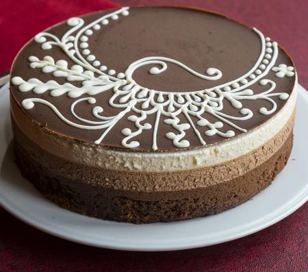 Chocolate cake with chocolate fudge Stock Photo