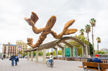 Barcelona, Catalonia, Spain, October 10, 2016. Gambrinus - The Funky lobster statue on Passeig Colom, Barcelona Editorial