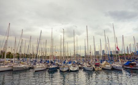 Barcelona, Catalonia, Spain, October 02, 2016. Yachts in Port Vell in Barcelona. Editorial