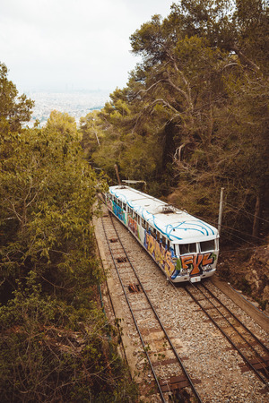 accession: Barcelona, Catalonia, Spain, October 02, 2016.  Funicular accession to Tibidabo amusement park, parc attractions Barcelona. Editorial