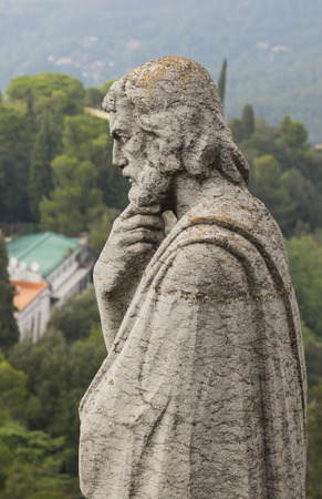 sagrat cor: Barcelona, Catalonia, Spain, October 02, 2016. Statue of apostle on the top of Expiatory Church of the Sacred Heart of Jesus (Temple Expiatori del Sagrat Cor). Mount Tibidabo in Barcelona, Catalonia, Spain. Editorial