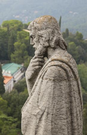 sagrat cor: Barcelona, Catalonia, Spain, October 02, 2016. Statue of apostle on the top of Expiatory Church of the Sacred Heart of Jesus (Temple Expiatori del Sagrat Cor). Mount Tibidabo in Barcelona, Catalonia, Spain. Editorial