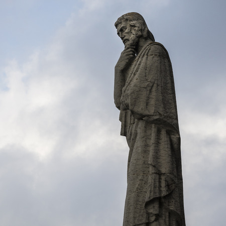cor: Barcelona, Catalonia, Spain - October 02, 2016. Statue of apostle on the top of Expiatory Church of the Sacred Heart of Jesus (Temple Expiatori del Sagrat Cor). Mount Tibidabo in Barcelona