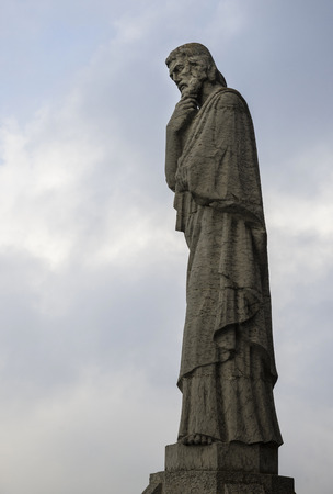 sagrat cor: Barcelona, Catalonia, Spain - October 02, 2016. Statue of apostle on the top of Expiatory Church of the Sacred Heart of Jesus (Temple Expiatori del Sagrat Cor). Mount Tibidabo in Barcelona