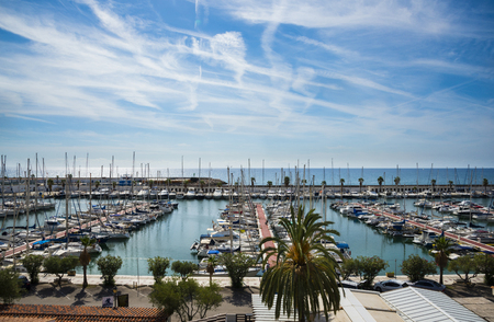 marina life: SITGES, CATALONIA, SPAIN - OCTOBER 05, 2016: The marina in Sitges. Port dAiguadolç
