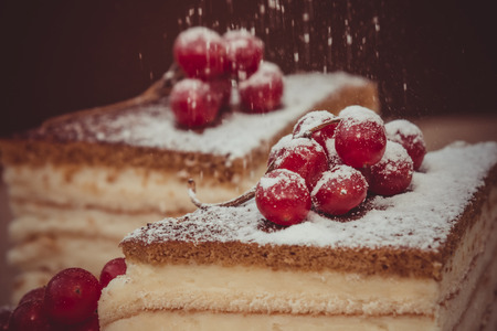 Pieces puff cheesecake decorated with icing sugar and a sprig of viburnum Stock Photo